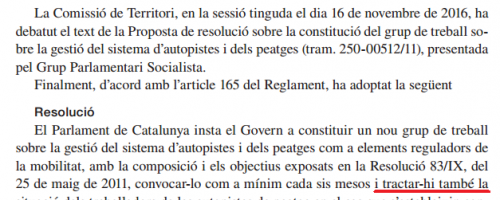 RESOLUCIÓN GRUPO DE PEAJES DEL PARLAMENT (II)